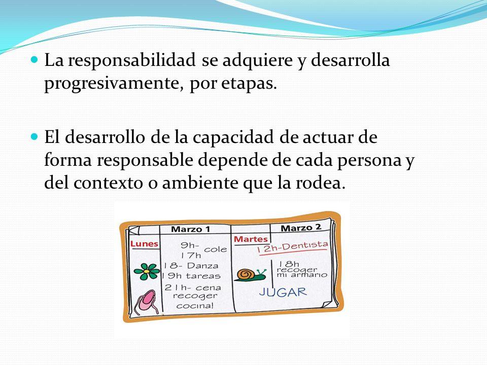 La responsabilidad se adquiere y desarrolla progresivamente, por etapas. El desarrollo de la capacidad de actuar de forma responsable depende de cada