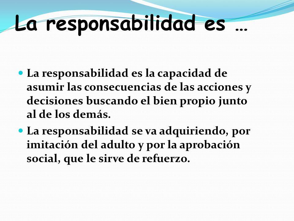 La responsabilidad es … La responsabilidad es la capacidad de asumir las consecuencias de las acciones y decisiones buscando el bien propio junto al d