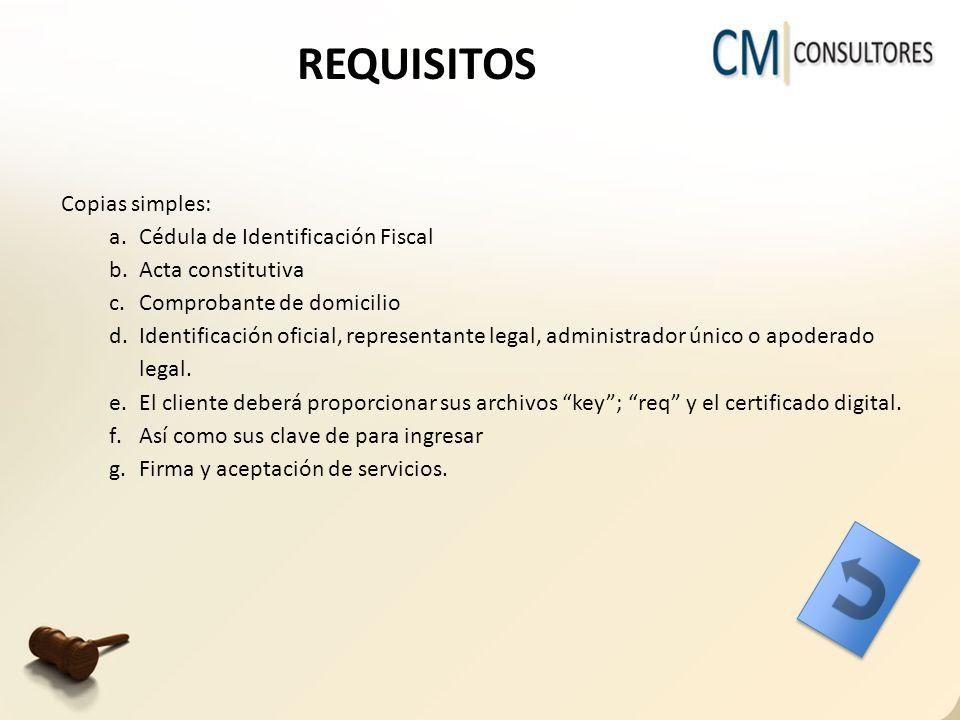 REQUISITOS Copias simples: a.Cédula de Identificación Fiscal b.Acta constitutiva c.Comprobante de domicilio d.Identificación oficial, representante legal, administrador único o apoderado legal.