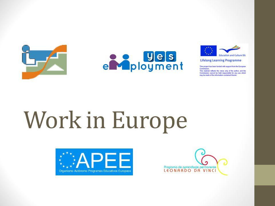 Index WORK IN EUROPE (Herramientas que hay que tener en cuenta para realizar un curriculum) 1.Employment Europas Webs de empleo Empleos emergentes (Tomamos este punto como la partida a las herramientas 2.0) 2.Herramientas 2.0 Introducción ¿qué son.