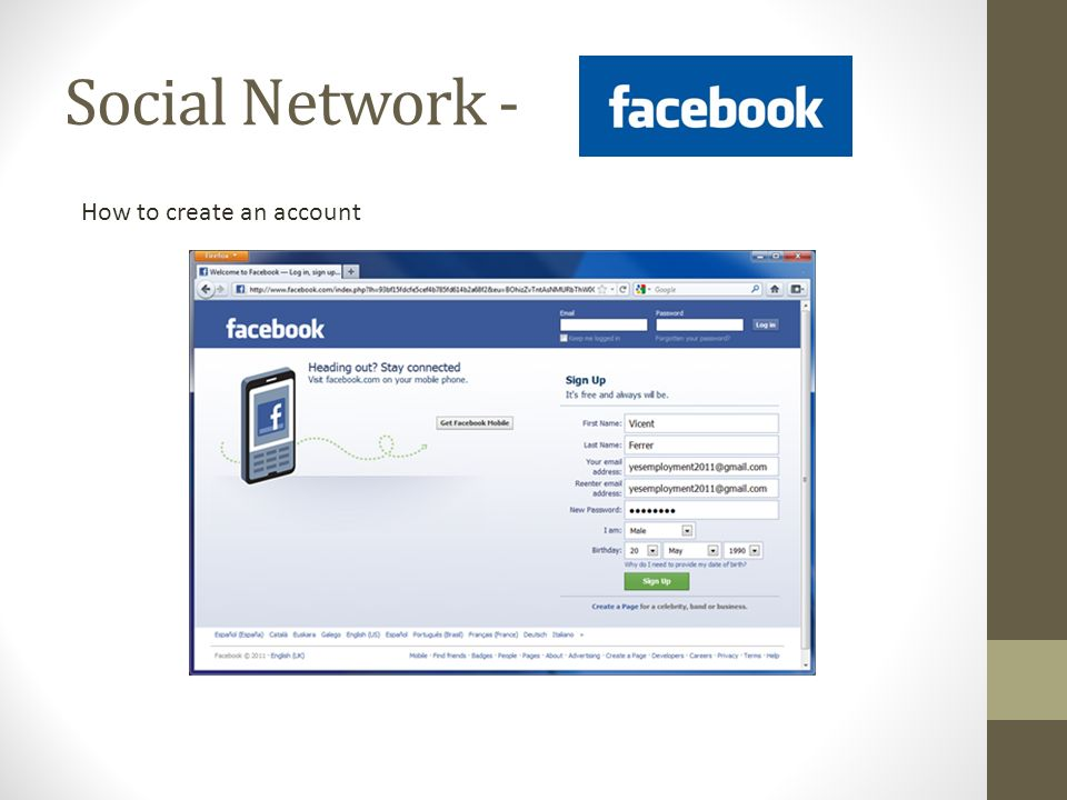 Social Network - How to create an account