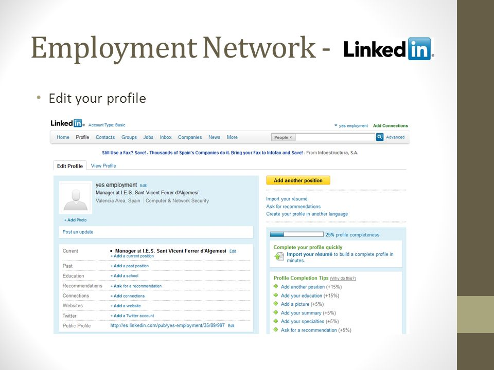 Employment Network - Edit your profile