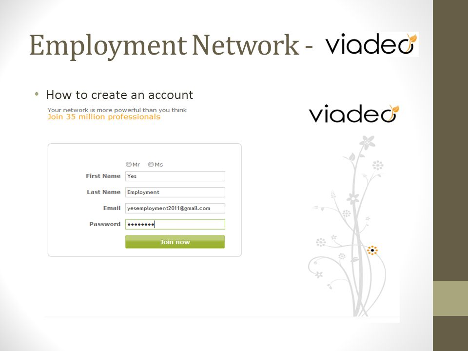 How to create an account Employment Network -