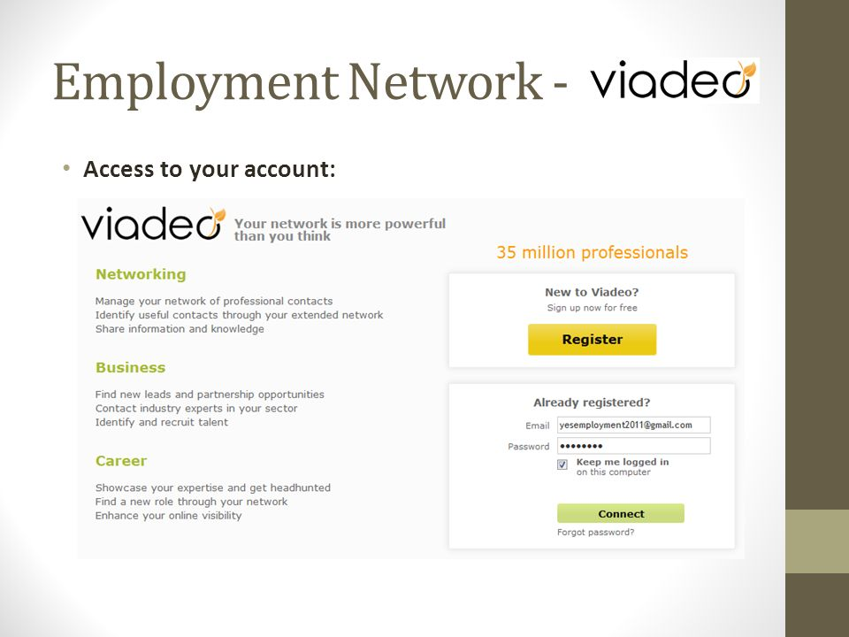 Access to your account: Employment Network -