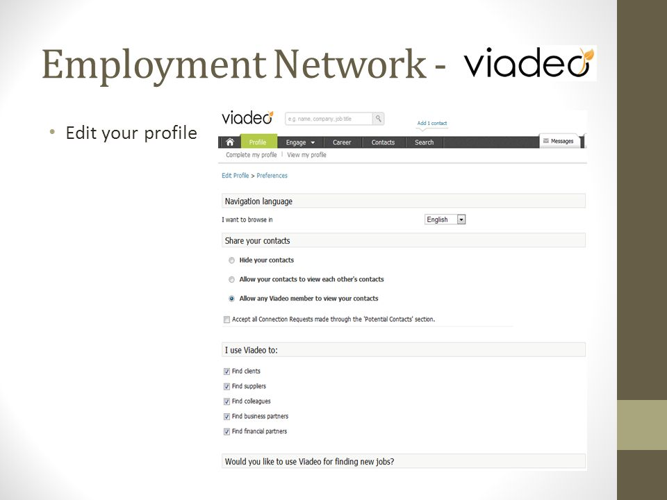 Edit your profile Employment Network -