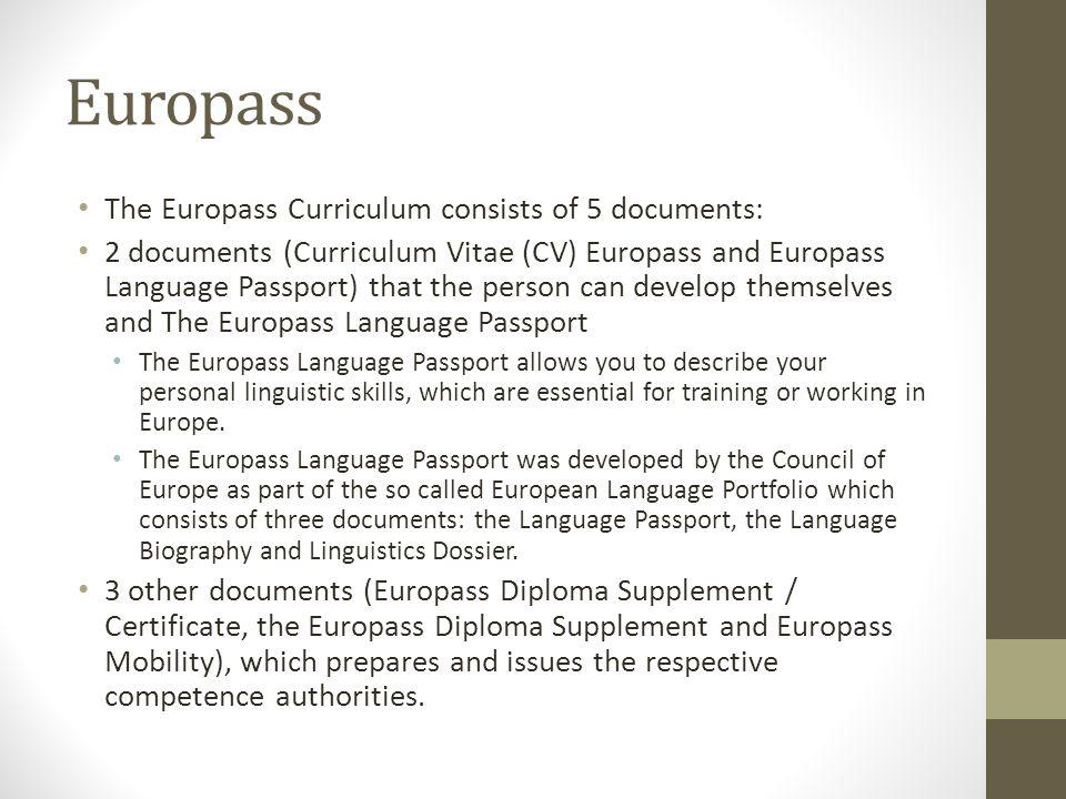 Europass The Europass Curriculum consists of 5 documents: 2 documents (Curriculum Vitae (CV) Europass and Europass Language Passport) that the person