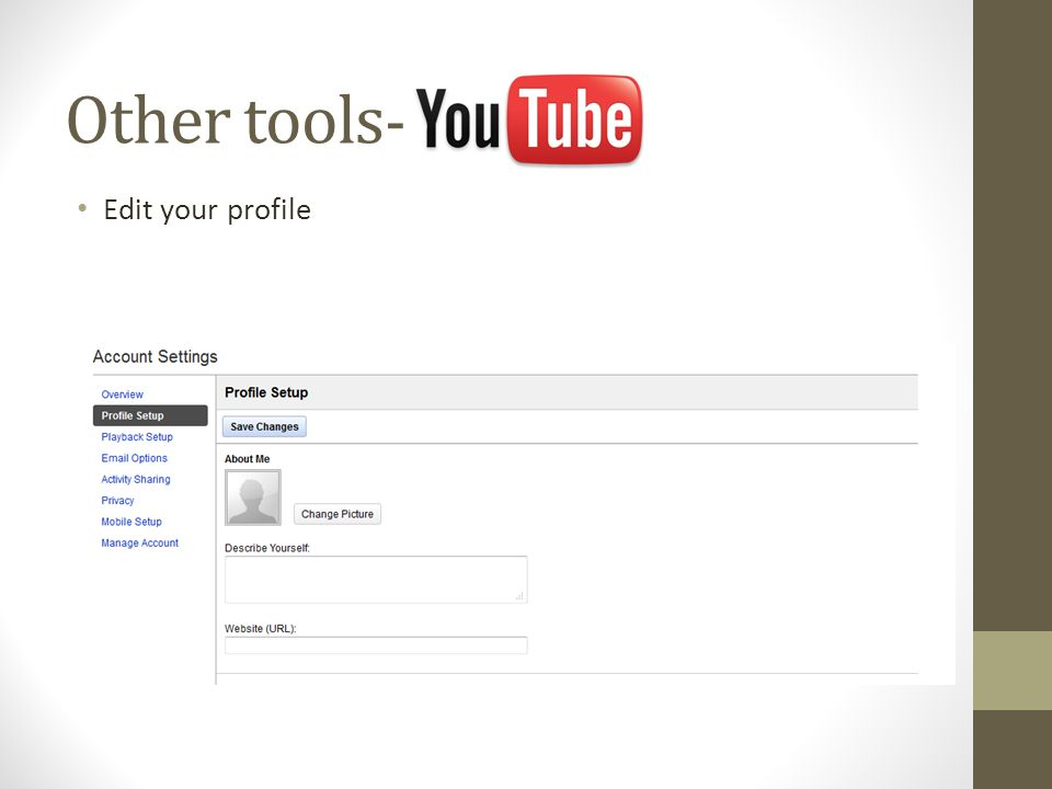 Edit your profile Other tools -
