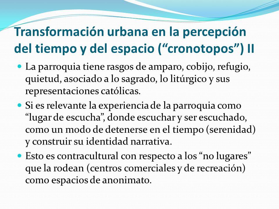 Transformación urbana en la percepción del tiempo y del espacio (cronotopos) II La parroquia tiene rasgos de amparo, cobijo, refugio, quietud, asociad