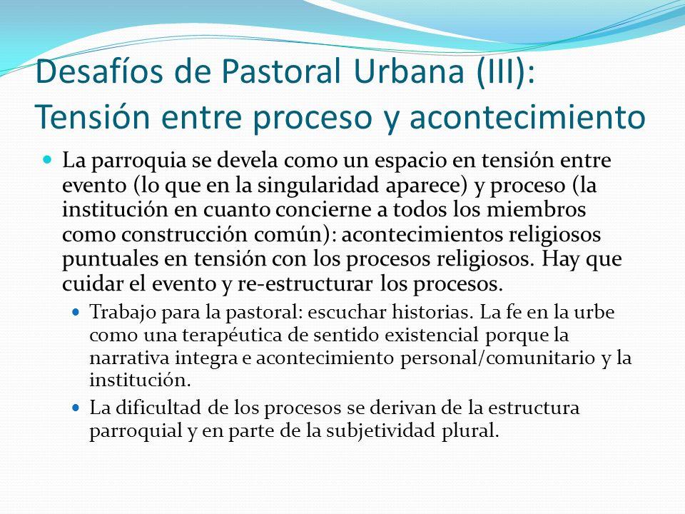 Desafíos de Pastoral Urbana (III): Tensión entre proceso y acontecimiento La parroquia se devela como un espacio en tensión entre evento (lo que en la