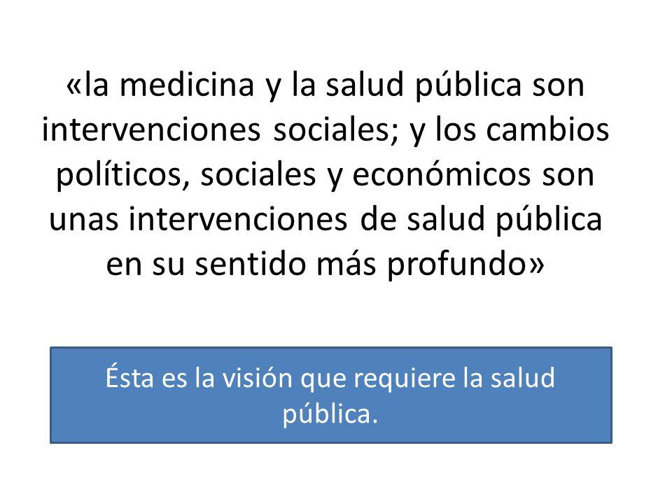 «la medicina y la salud pública son intervenciones sociales; y los cambios políticos, sociales y económicos son unas intervenciones de salud pública en su sentido más profundo» Ésta es la visión que requiere la salud pública.