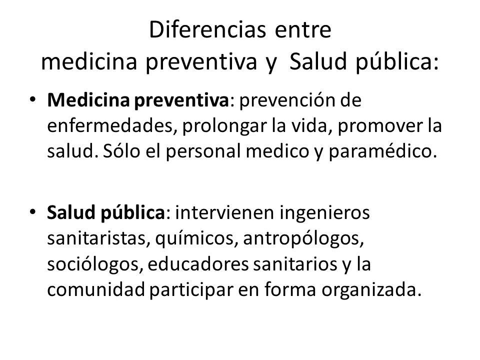Diferencias entre medicina preventiva y Salud pública: Medicina preventiva: prevención de enfermedades, prolongar la vida, promover la salud.
