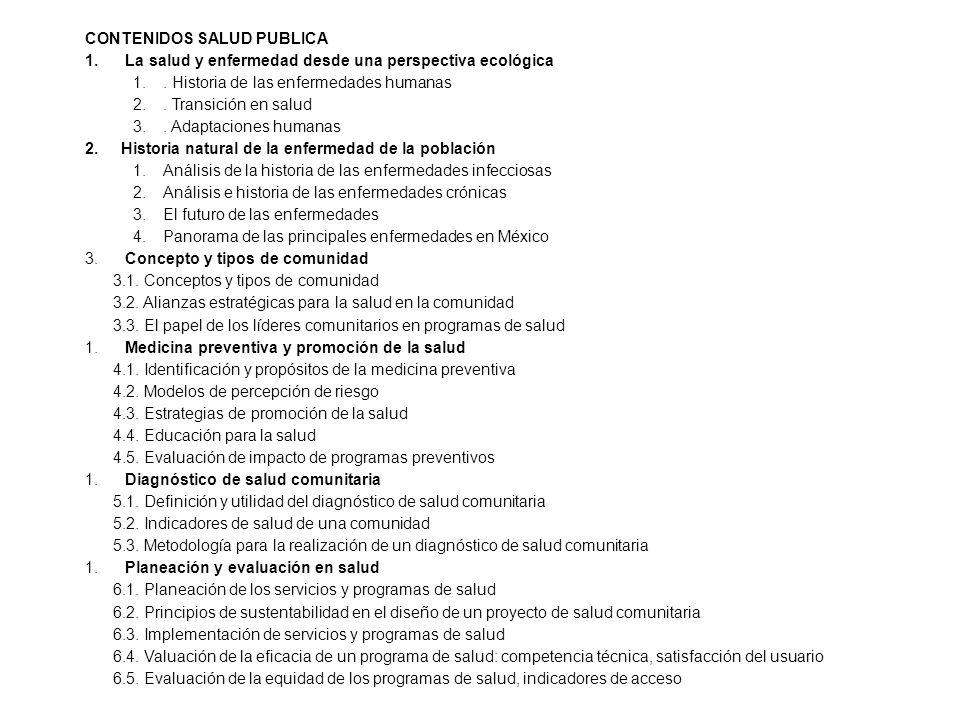 CONTENIDOS SALUD PUBLICA 1.La salud y enfermedad desde una perspectiva ecológica 1..