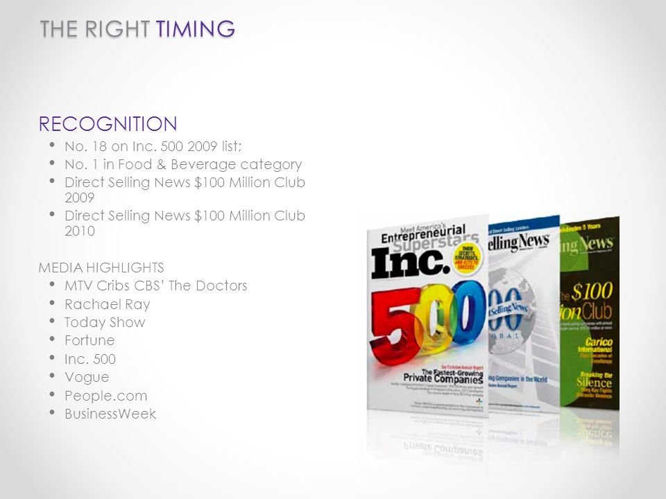 THE RIGHT TIMING RECOGNITION No.18 on Inc. 500 2009 list; No.