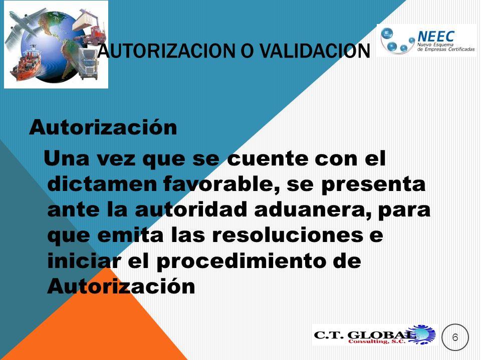 Autorización Una vez que se cuente con el dictamen favorable, se presenta ante la autoridad aduanera, para que emita las resoluciones e iniciar el procedimiento de Autorización AUTORIZACION O VALIDACION 6