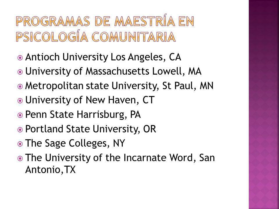 Antioch University, Los Angeles, CA University of North Carolina Charlotte, NC Sage Graduate Schools, Albany NY