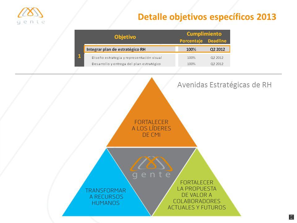 Detalle objetivos específicos 2013 Avenidas Estratégicas de RH