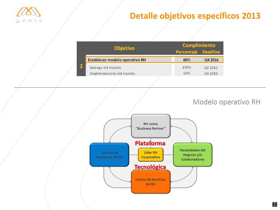 Detalle objetivos específicos 2013 Modelo operativo RH