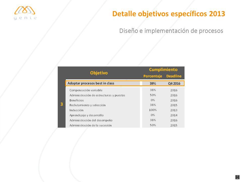Detalle objetivos específicos 2013 Diseño e implementación de procesos
