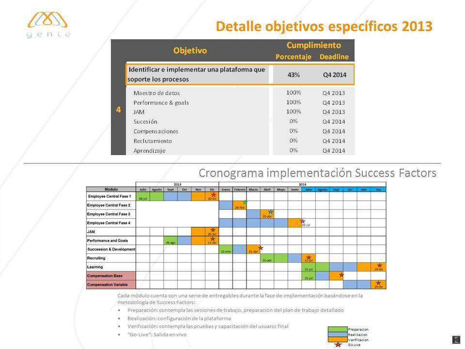 Detalle objetivos específicos 2013 Propuestas para el diagnóstico y fortalecimiento del equipo RH