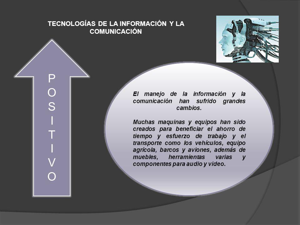 TECNOLOGÍAS DE LA INFORMACIÓN Y LA COMUNICACIÓN POSITIVOPOSITIVO El manejo de la información y la comunicación han sufrido grandes cambios.