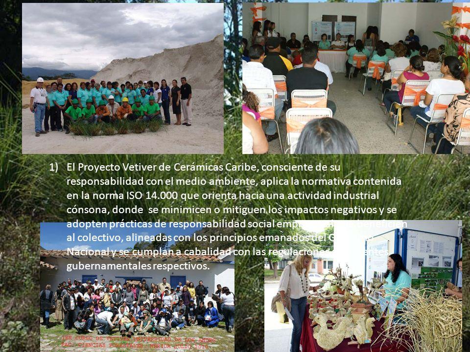 1)El Proyecto Vetiver de Cerámicas Caribe, consciente de su responsabilidad con el medio ambiente, aplica la normativa contenida en la norma ISO 14.00