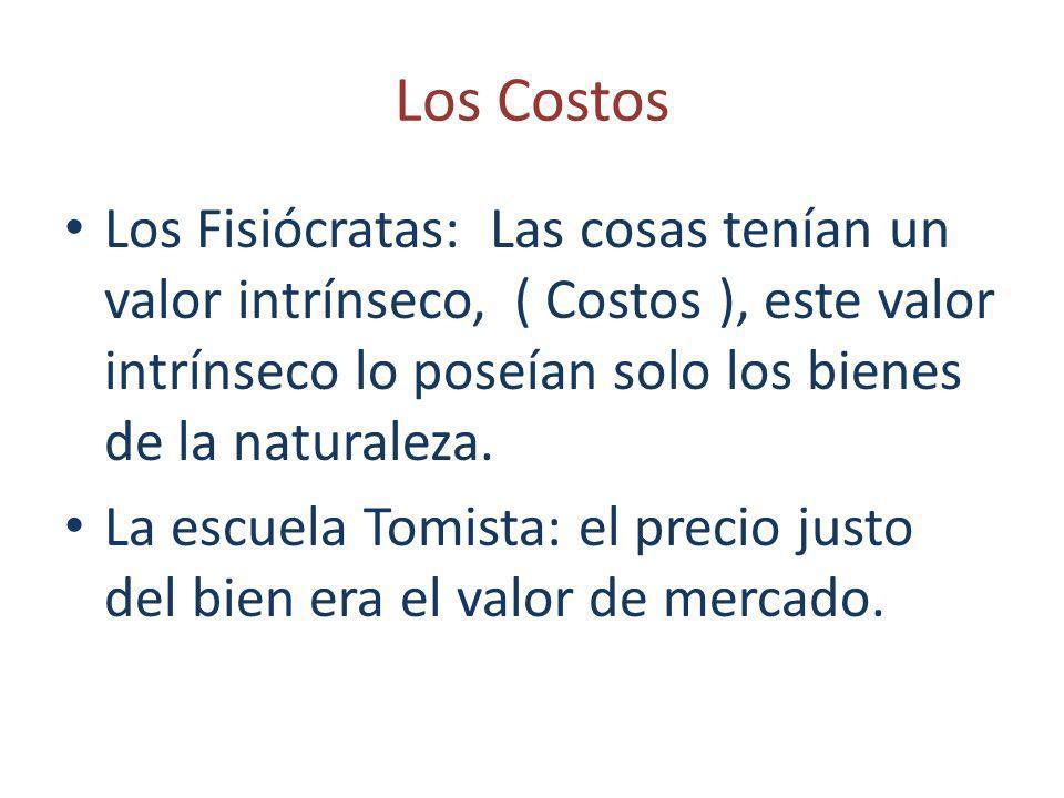 Los Costos Los Fisiócratas: Las cosas tenían un valor intrínseco, ( Costos ), este valor intrínseco lo poseían solo los bienes de la naturaleza. La es