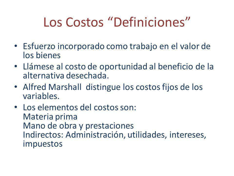 Los Costos Definiciones Esfuerzo incorporado como trabajo en el valor de los bienes Llámese al costo de oportunidad al beneficio de la alternativa des