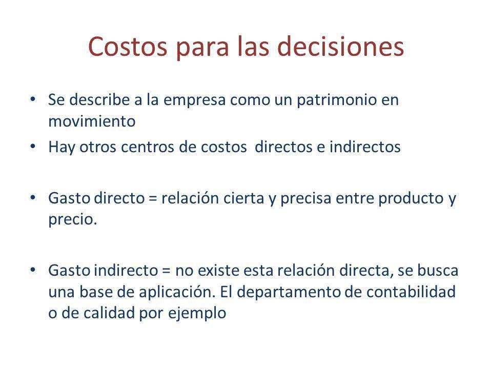 Costos para las decisiones Se describe a la empresa como un patrimonio en movimiento Hay otros centros de costos directos e indirectos Gasto directo =
