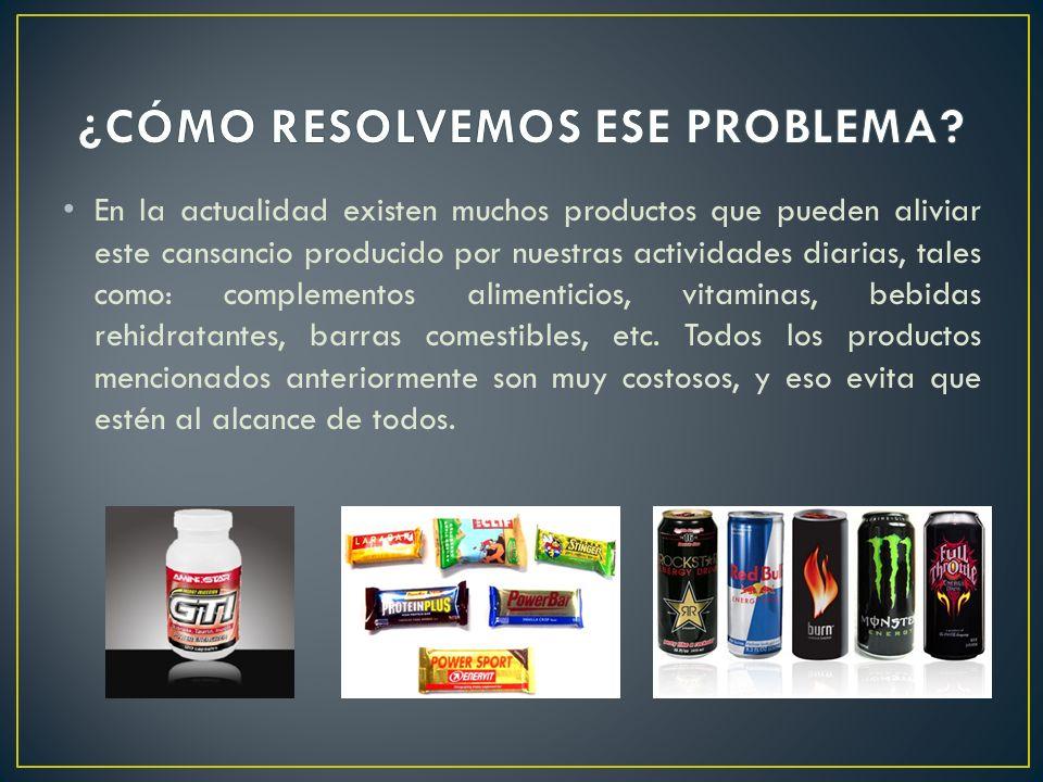 En la actualidad existen muchos productos que pueden aliviar este cansancio producido por nuestras actividades diarias, tales como: complementos alimenticios, vitaminas, bebidas rehidratantes, barras comestibles, etc.
