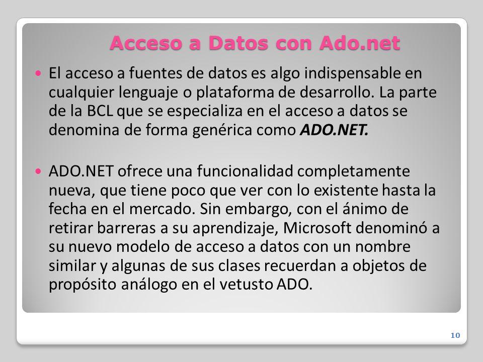 Acceso a Datos con Ado.net El acceso a fuentes de datos es algo indispensable en cualquier lenguaje o plataforma de desarrollo. La parte de la BCL que