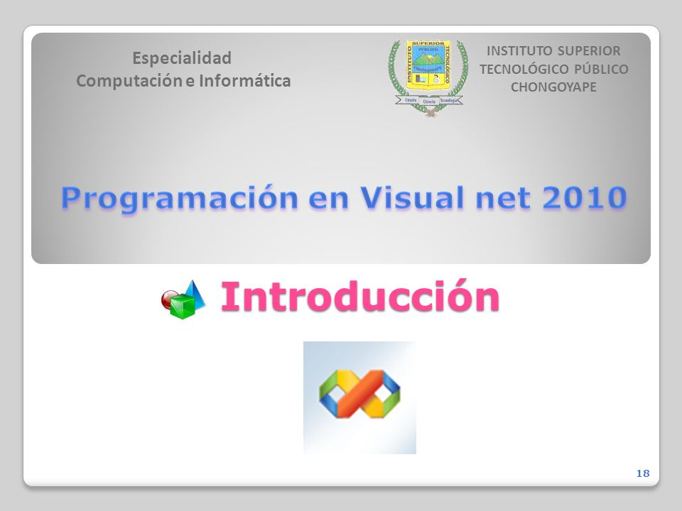 Introducción Especialidad Computación e Informática INSTITUTO SUPERIOR TECNOLÓGICO PÚBLICO CHONGOYAPE 18