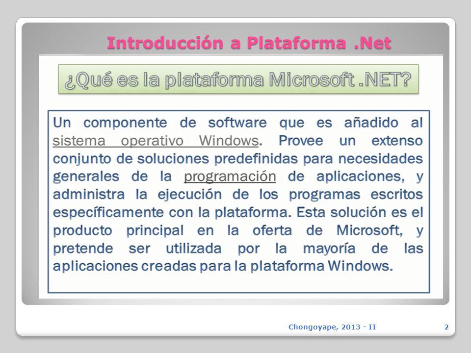 Introducción a Plataforma.Net Chongoyape, 2013 - II2