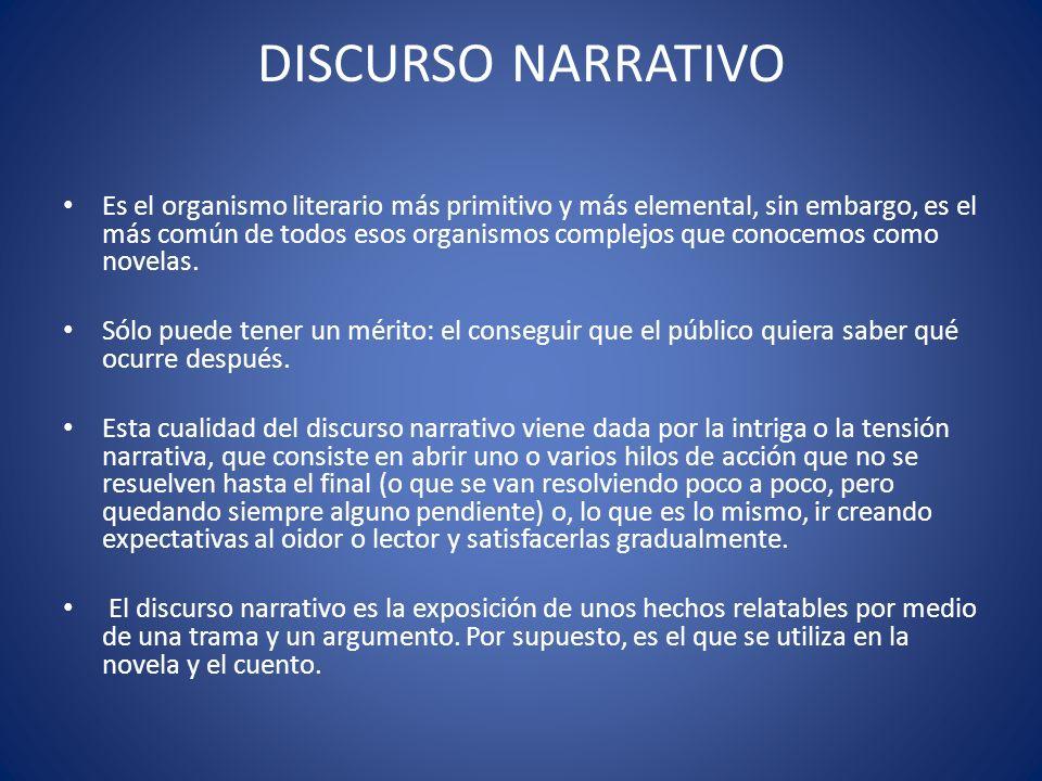 Partes del discurso narrativo Inicio, nudo y desenlace.