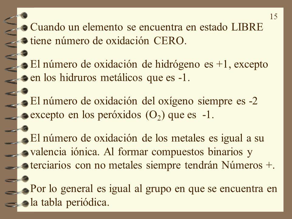 15 Cuando un elemento se encuentra en estado LIBRE tiene número de oxidación CERO. El número de oxidación de hidrógeno es +1, excepto en los hidruros