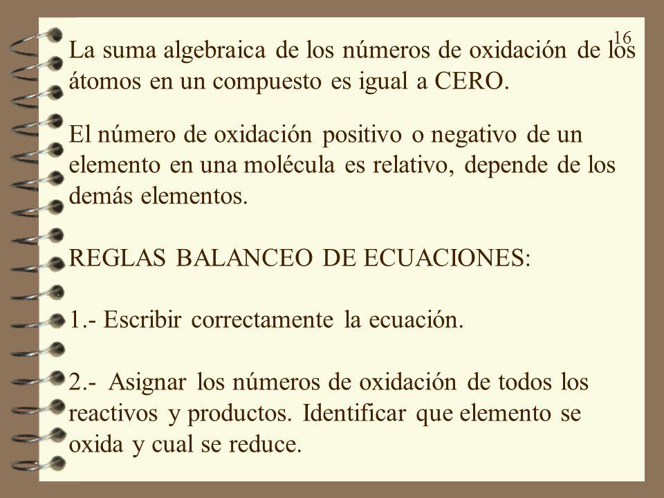 16 La suma algebraica de los números de oxidación de los átomos en un compuesto es igual a CERO. El número de oxidación positivo o negativo de un elem