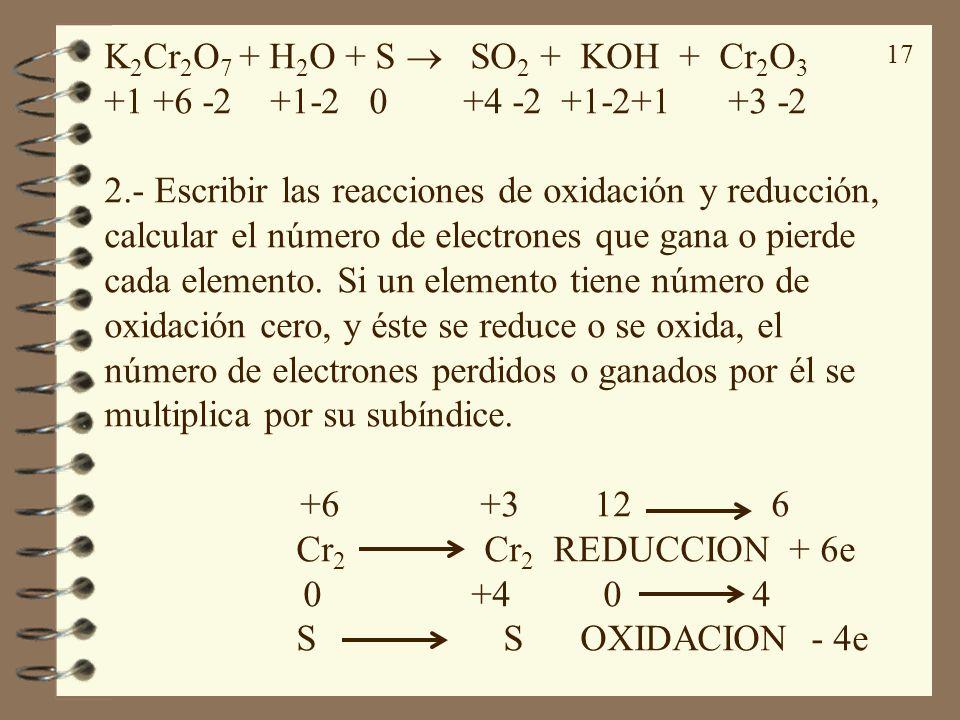 17 K 2 Cr 2 O 7 + H 2 O + S SO 2 + KOH + Cr 2 O 3 +1 +6 -2 +1-2 0 +4 -2 +1-2+1 +3 -2 2.- Escribir las reacciones de oxidación y reducción, calcular el