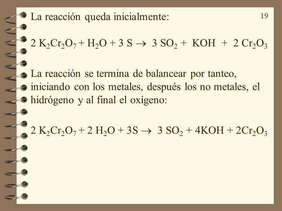 19 La reacción queda inicialmente: 2 K 2 Cr 2 O 7 + H 2 O + 3 S 3 SO 2 + KOH + 2 Cr 2 O 3 La reacción se termina de balancear por tanteo, iniciando co