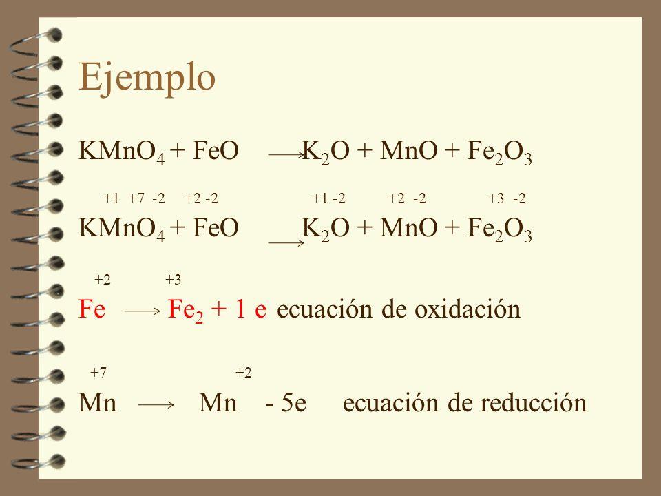 KMnO 4 + FeO K 2 O + MnO + Fe 2 O 3 +1 +7 -2 +2 -2 +1 -2 +2 -2 +3 -2 KMnO 4 + FeO K 2 O + MnO + Fe 2 O 3 +2 +3 Fe Fe 2 + 1 eecuación de oxidación +7 +