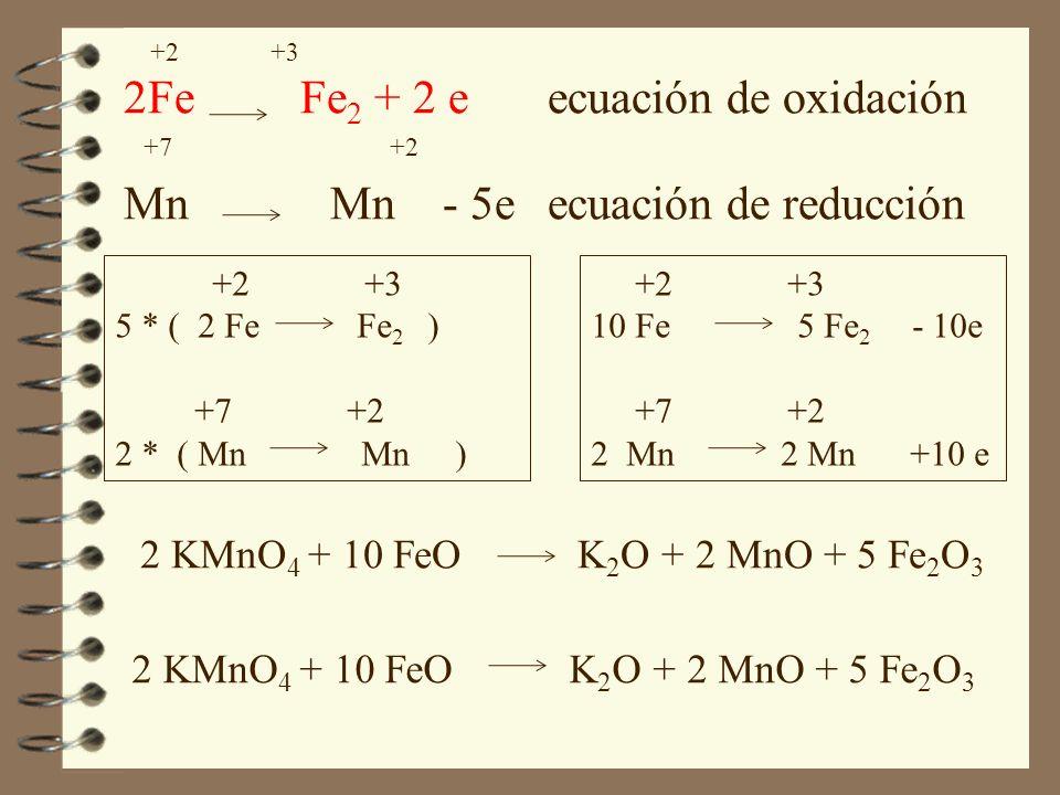 +2 +3 2Fe Fe 2 + 2 eecuación de oxidación +7 +2 Mn Mn - 5eecuación de reducción +2 +3 5 * ( 2 Fe Fe 2 ) +7 +2 2 * ( Mn Mn ) +2 +3 10 Fe 5 Fe 2 - 10e +