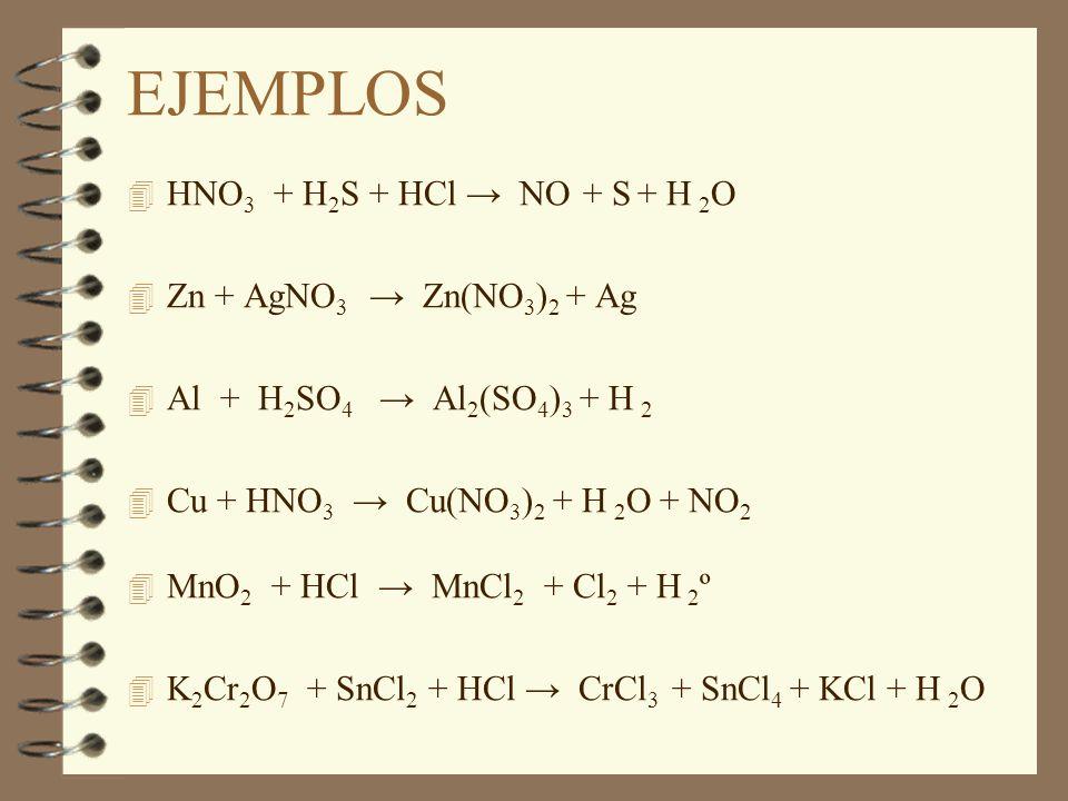 EJEMPLOS 4 HNO 3 + H 2 S + HCl NO + S + H 2 O 4 Zn + AgNO 3 Zn(NO 3 ) 2 + Ag 4 Al + H 2 SO 4 Al 2 (SO 4 ) 3 + H 2 4 Cu + HNO 3 Cu(NO 3 ) 2 + H 2 O + N