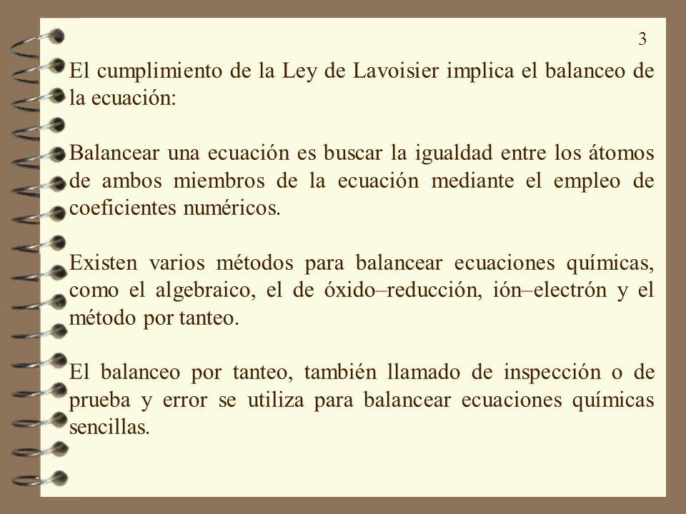 3 El cumplimiento de la Ley de Lavoisier implica el balanceo de la ecuación: Balancear una ecuación es buscar la igualdad entre los átomos de ambos mi