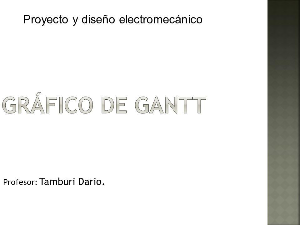 Profesor: Tamburi Dario. Proyecto y diseño electromecánico