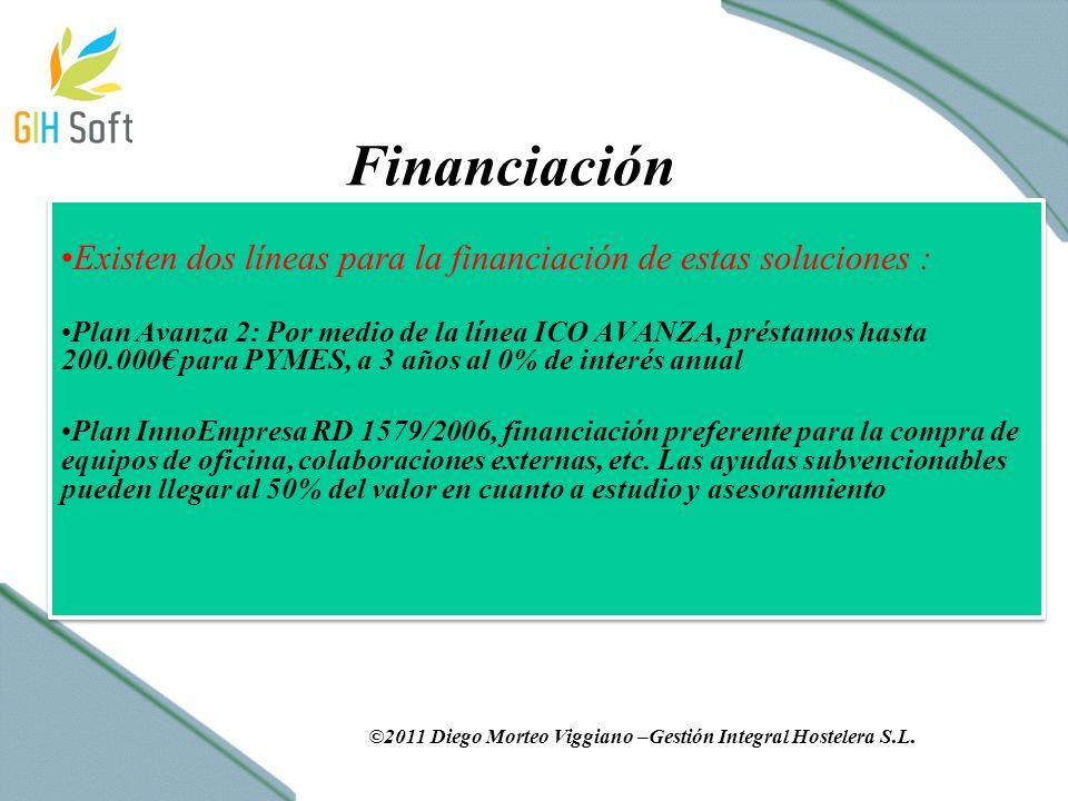 Financiación Existen dos líneas para la financiación de estas soluciones : Plan Avanza 2: Por medio de la línea ICO AVANZA, préstamos hasta 200.000 para PYMES, a 3 años al 0% de interés anual Plan InnoEmpresa RD 1579/2006, financiación preferente para la compra de equipos de oficina, colaboraciones externas, etc.