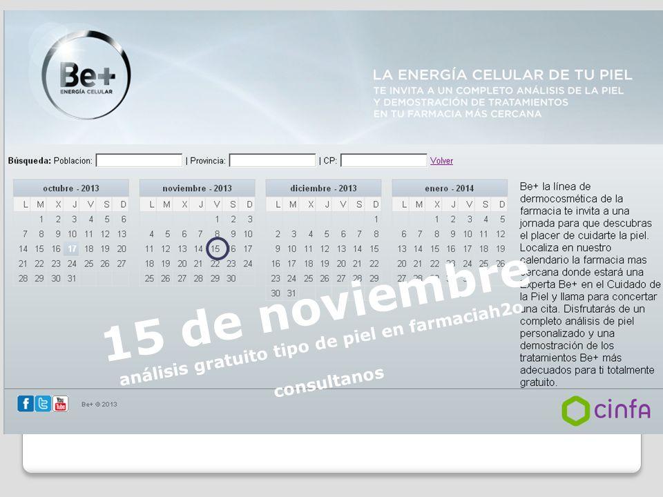 15 de noviembre análisis gratuito tipo de piel en farmaciah2o consultanos