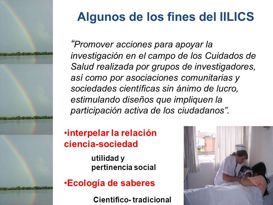 Algunos de los fines del IILICS Promover acciones para apoyar la investigación en el campo de los Cuidados de Salud realizada por grupos de investigad