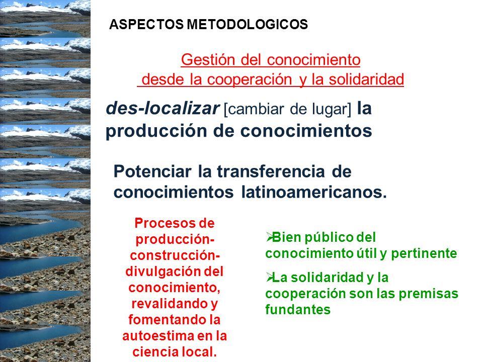 Gestión del conocimiento desde la cooperación y la solidaridad des-localizar [cambiar de lugar] la producción de conocimientos Potenciar la transferen