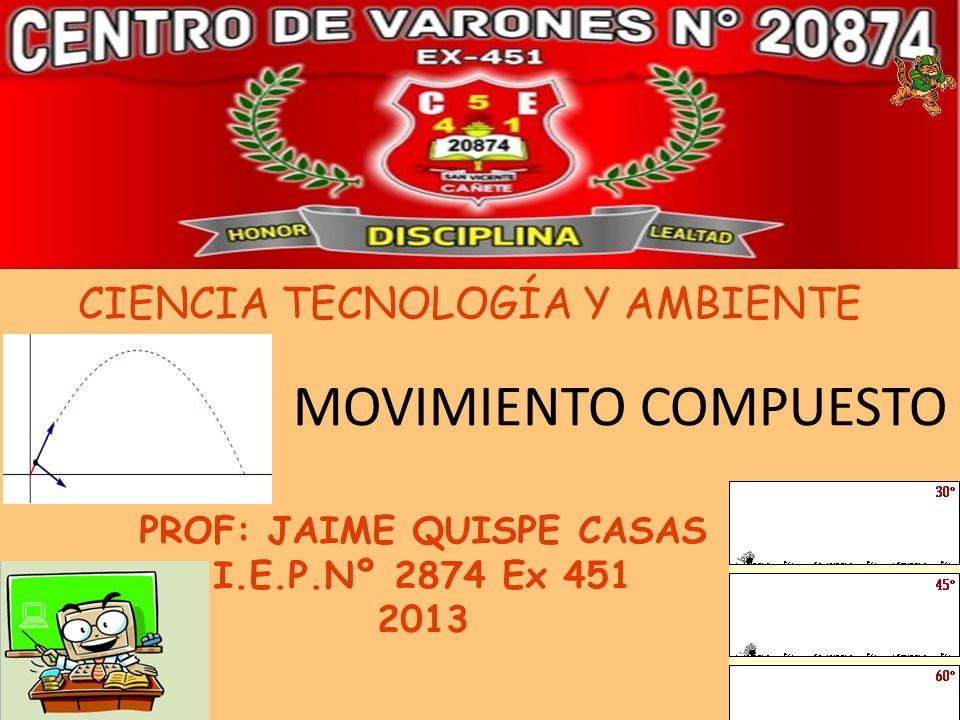 CIENCIA TECNOLOGÍA Y AMBIENTE PROF: JAIME QUISPE CASAS I.E.P.Nº 2874 Ex 451 2013 1 MOVIMIENTO COMPUESTO