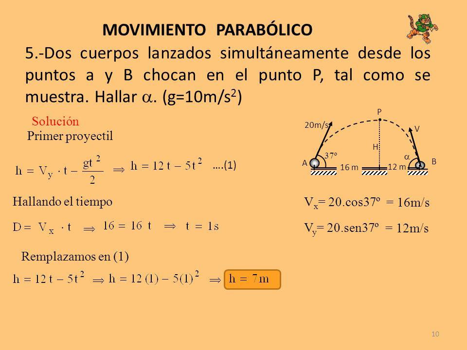 10 MOVIMIENTO PARABÓLICO 5.-Dos cuerpos lanzados simultáneamente desde los puntos a y B chocan en el punto P, tal como se muestra. Hallar. (g=10m/s 2