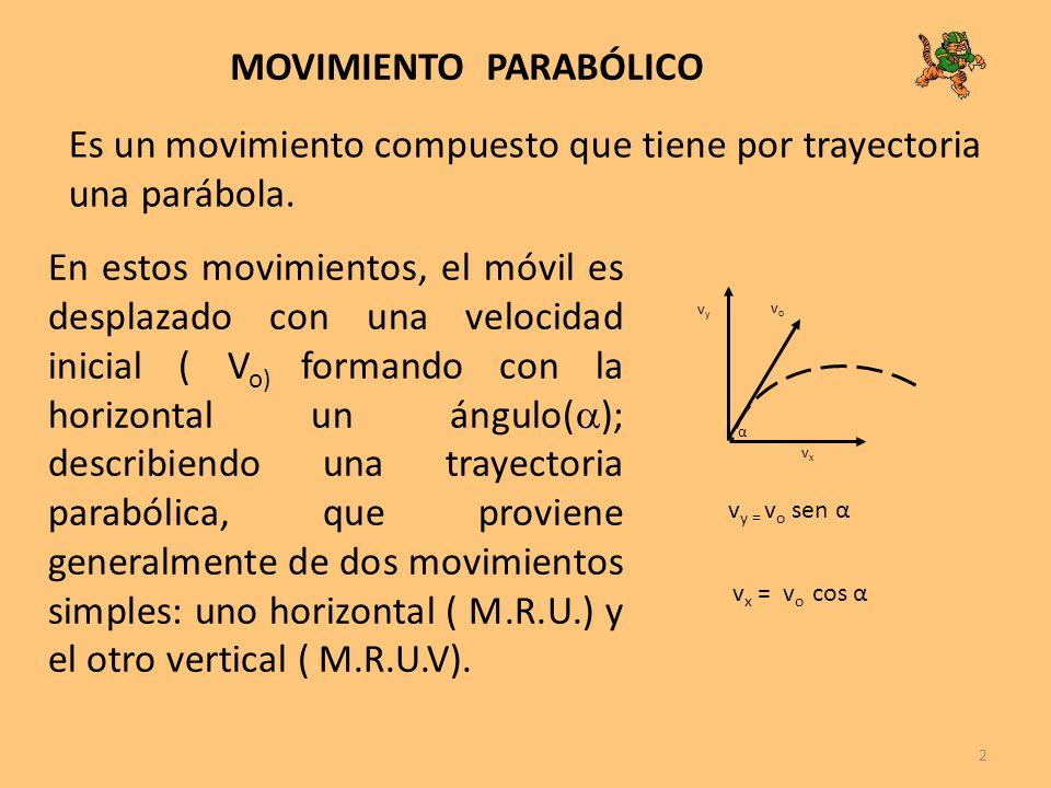 2 MOVIMIENTO PARABÓLICO Es un movimiento compuesto que tiene por trayectoria una parábola. En estos movimientos, el móvil es desplazado con una veloci