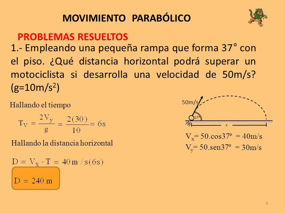 6 MOVIMIENTO PARABÓLICO 1.- Empleando una pequeña rampa que forma 37° con el piso. ¿Qué distancia horizontal podrá superar un motociclista si desarrol